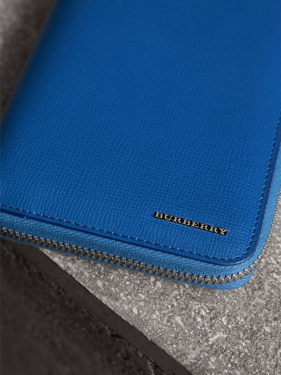 London Leather Ziparound Wallet in Deep Blue | Burberry - cell image 1