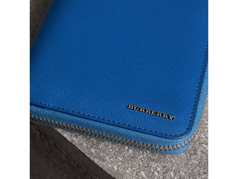 London Leather Ziparound Wallet in Deep Blue - Men | Burberry - cell image 1