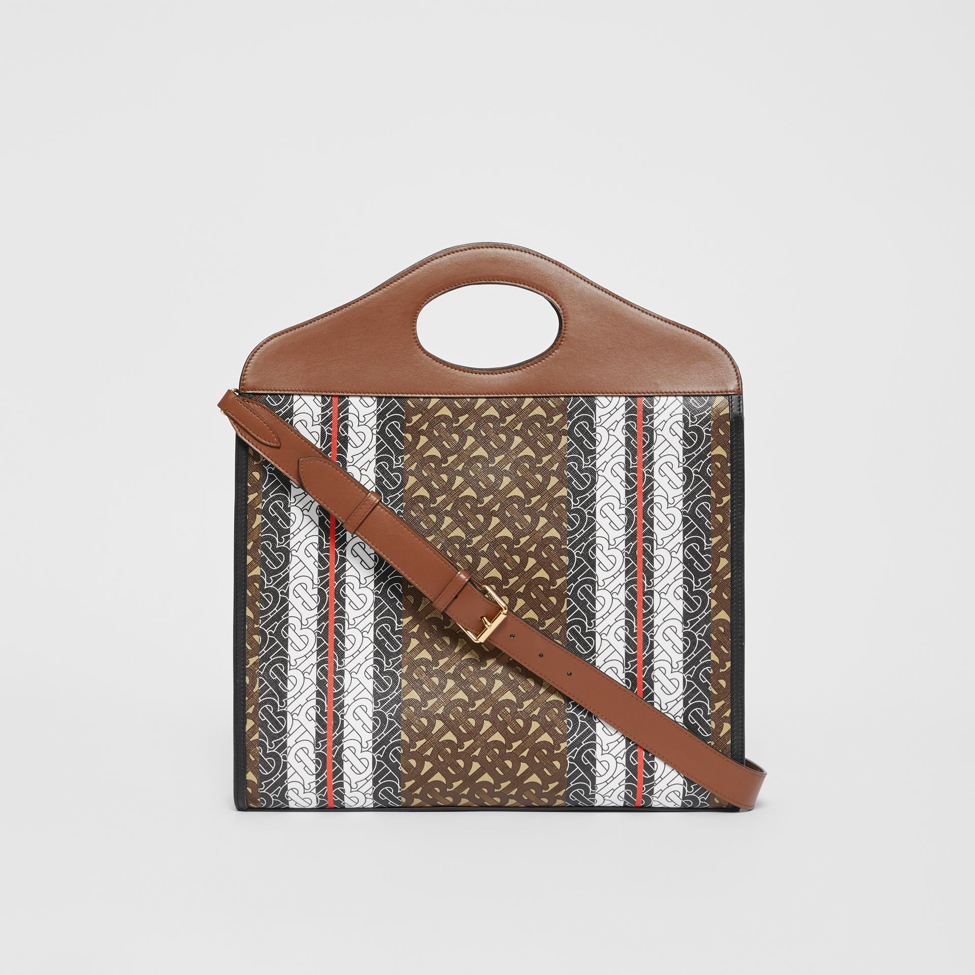 Medium Monogram Stripe E-canvas Pocket Bag in Bridle Brown - Women | Burberry - gallery image 7