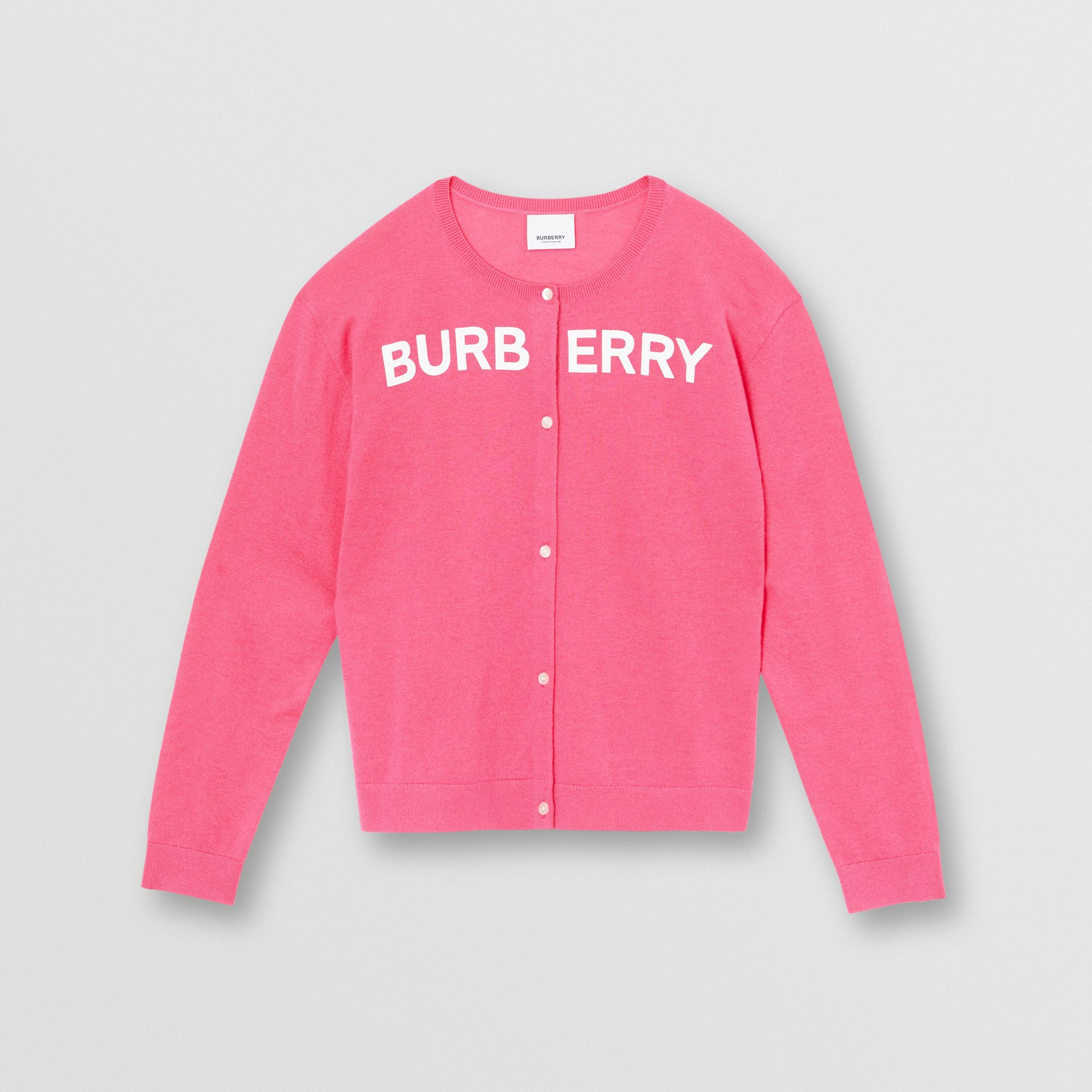 Logo Print Cashmere Two-piece Set in Fuchsia Pink - Children | Burberry - gallery image 0