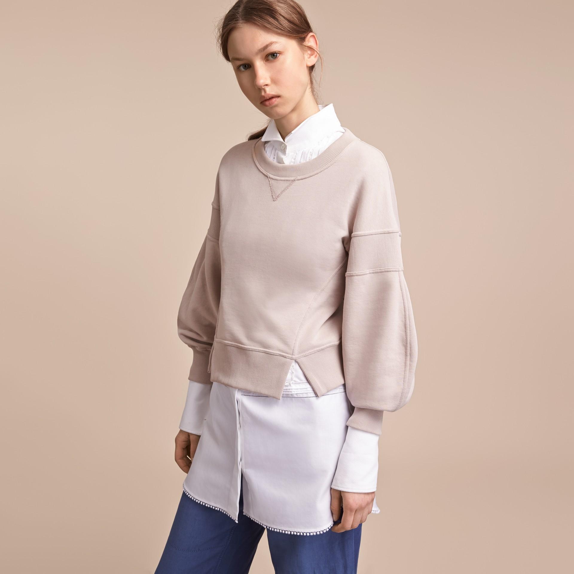 Puffed-sleeve Cotton Panelled Sweatshirt - gallery image 6