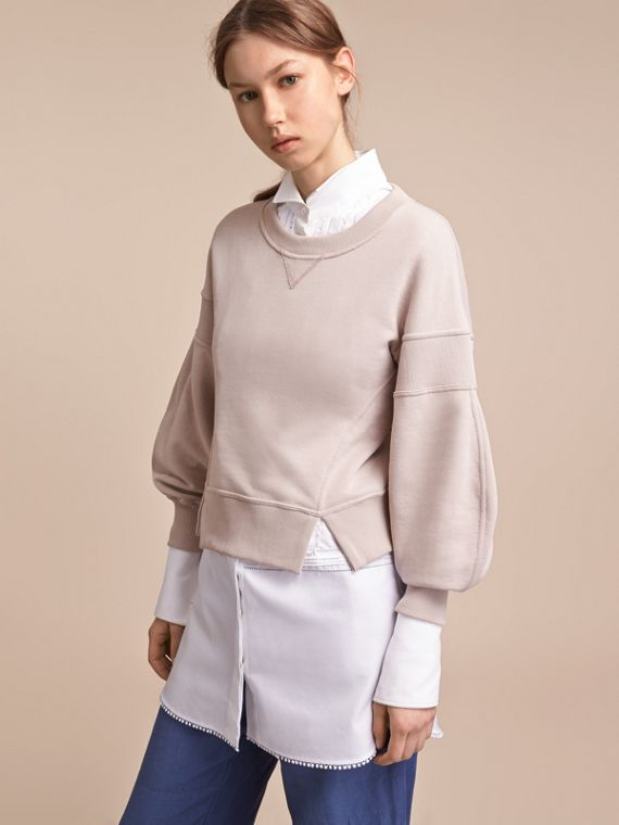 Puffed-sleeve Cotton Panelled Sweatshirt