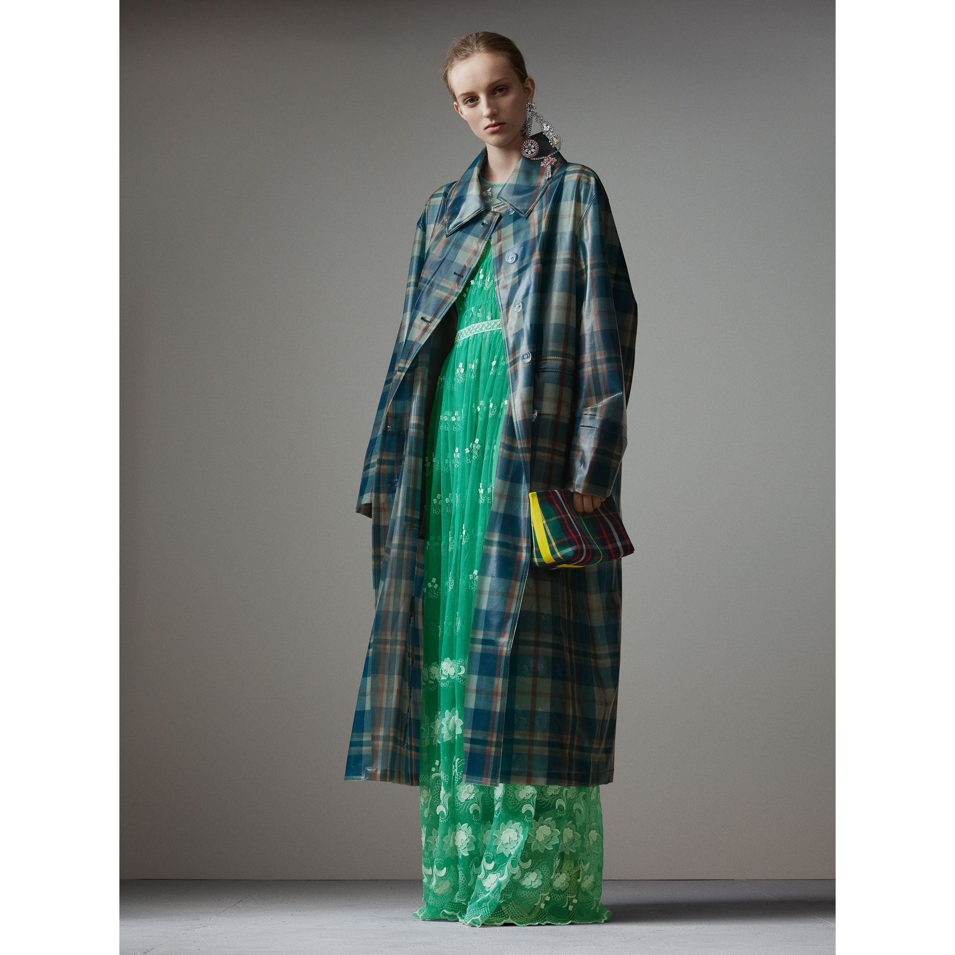 Tartan Soft-touch Plastic Oversized Car Coat in Blue/orange - Women | Burberry - gallery image 1