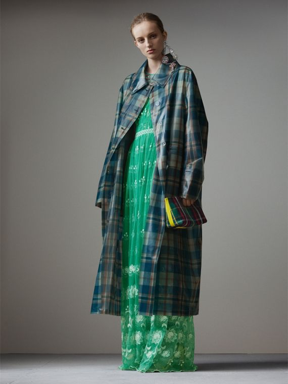 Tartan Soft-touch Plastic Oversized Car Coat in Blue/orange
