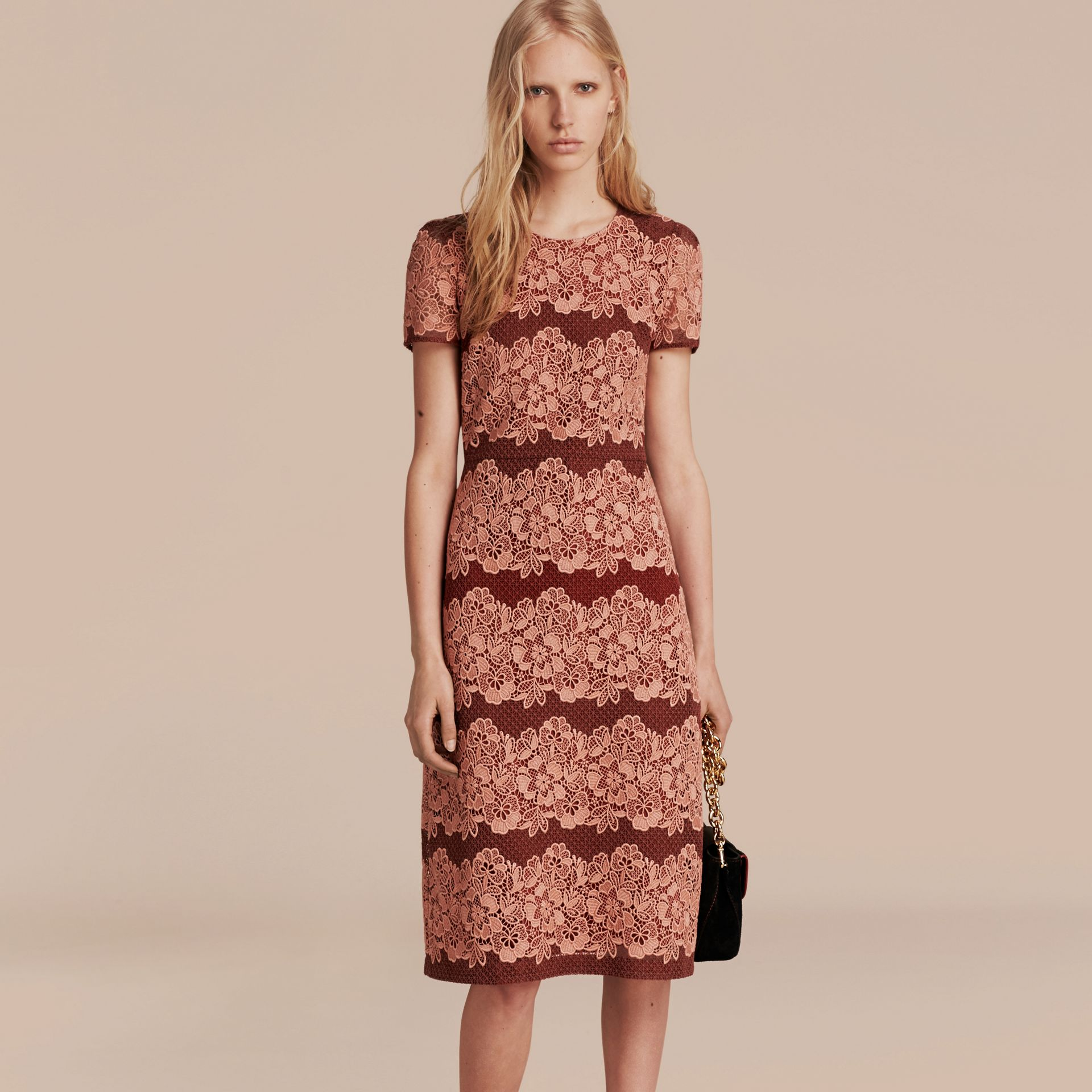 Copper pink/russet Mesh and Macramé Lace Shift Dress - gallery image 6