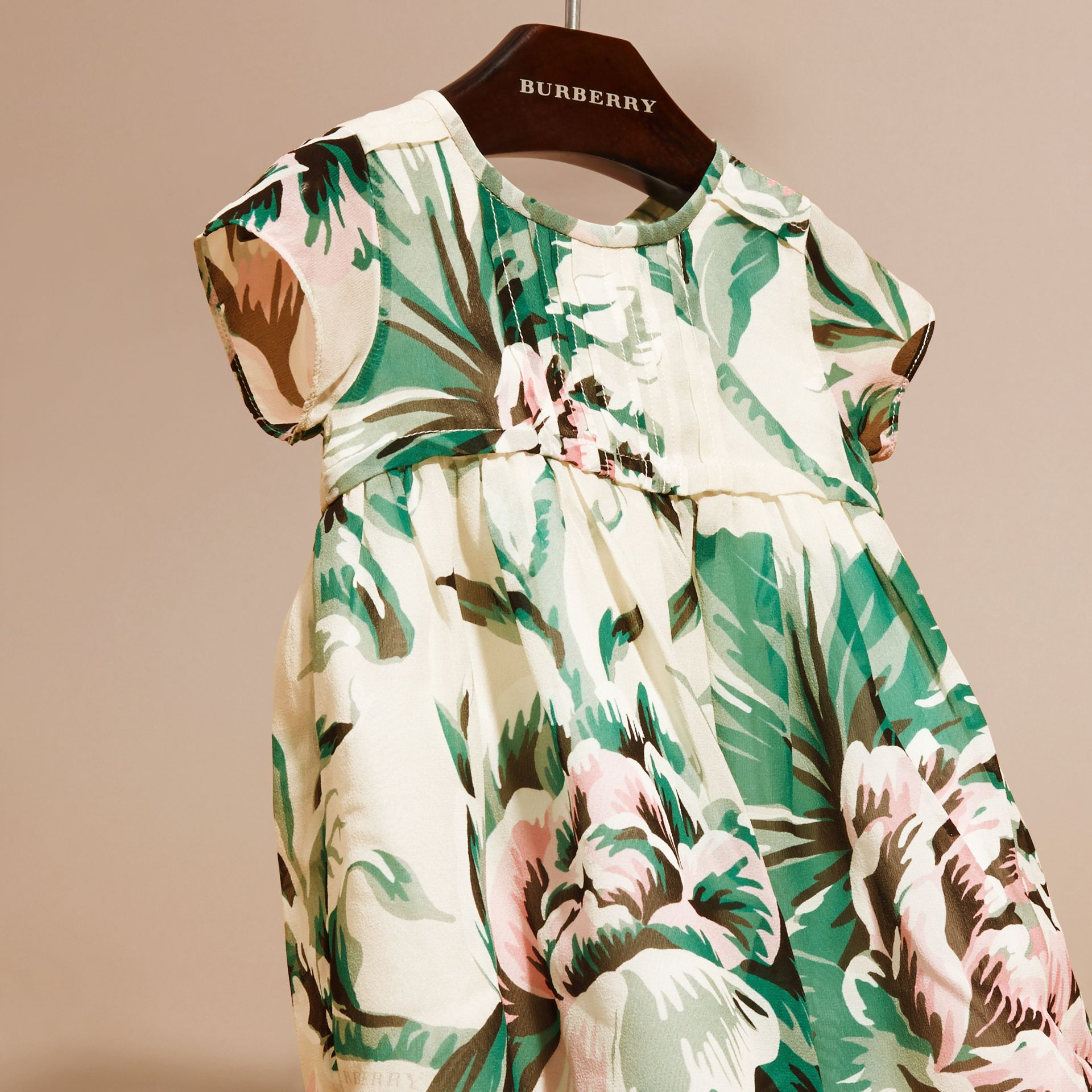 Emerald green Peony Rose Print Silk Dress - gallery image 3