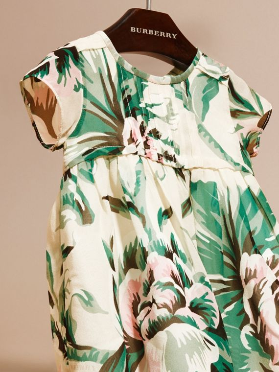 Emerald green Peony Rose Print Silk Dress - cell image 2
