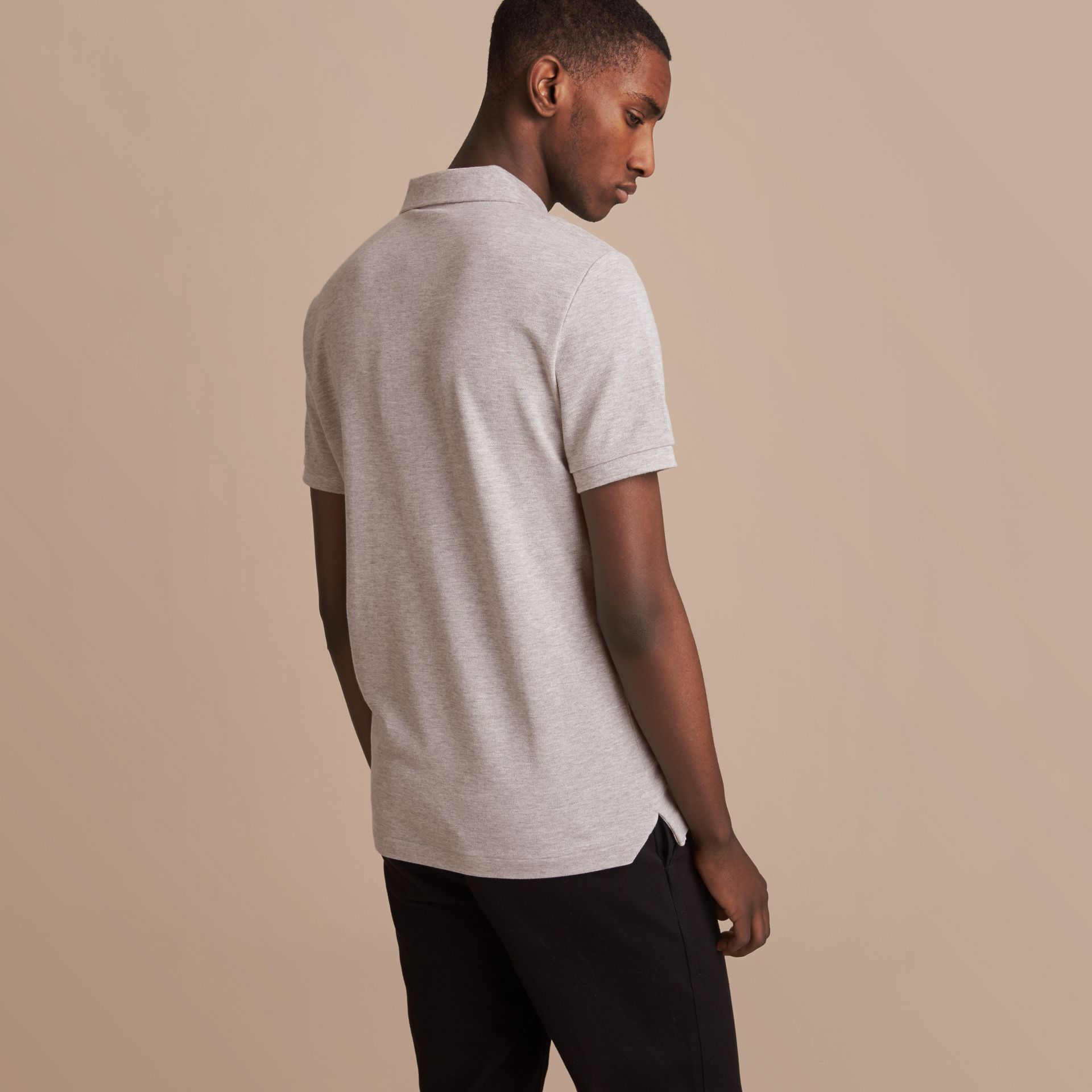 Pallas Heads Appliqué Cotton Polo Shirt in Pale Grey Melange - gallery image 3