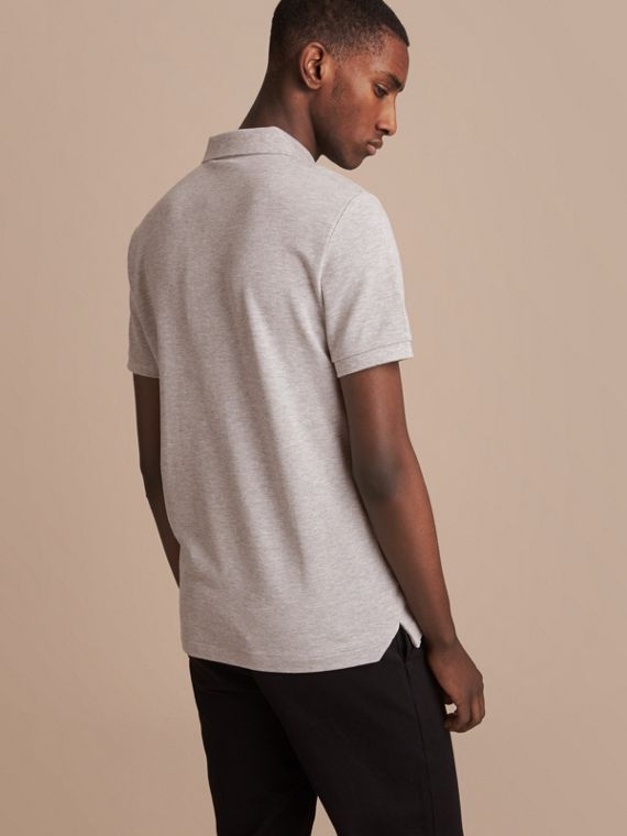 Pallas Heads Appliqué Cotton Polo Shirt in Pale Grey Melange - cell image 2