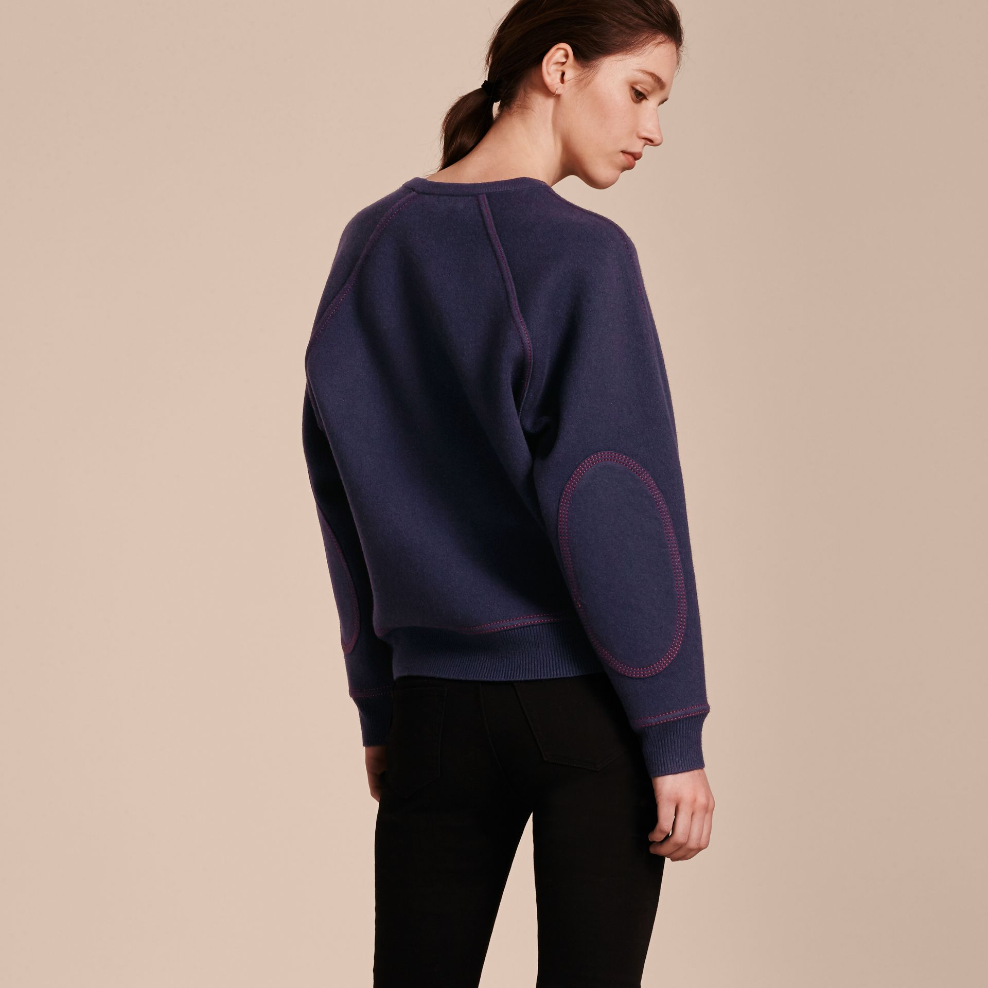 Topstitch Detail Wool Cashmere Blend Sweater in Navy - Women | Burberry Hong Kong - gallery image 3