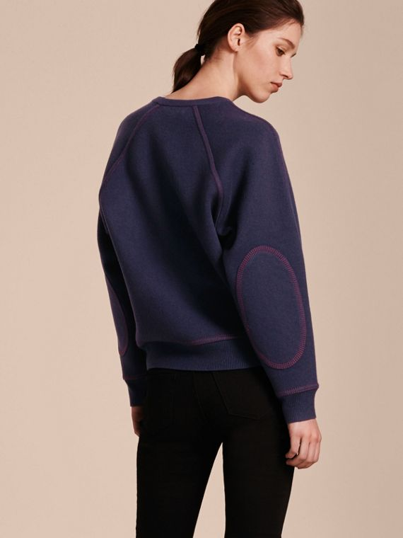 Topstitch Detail Wool Cashmere Blend Sweater in Navy - Women | Burberry Hong Kong - cell image 2