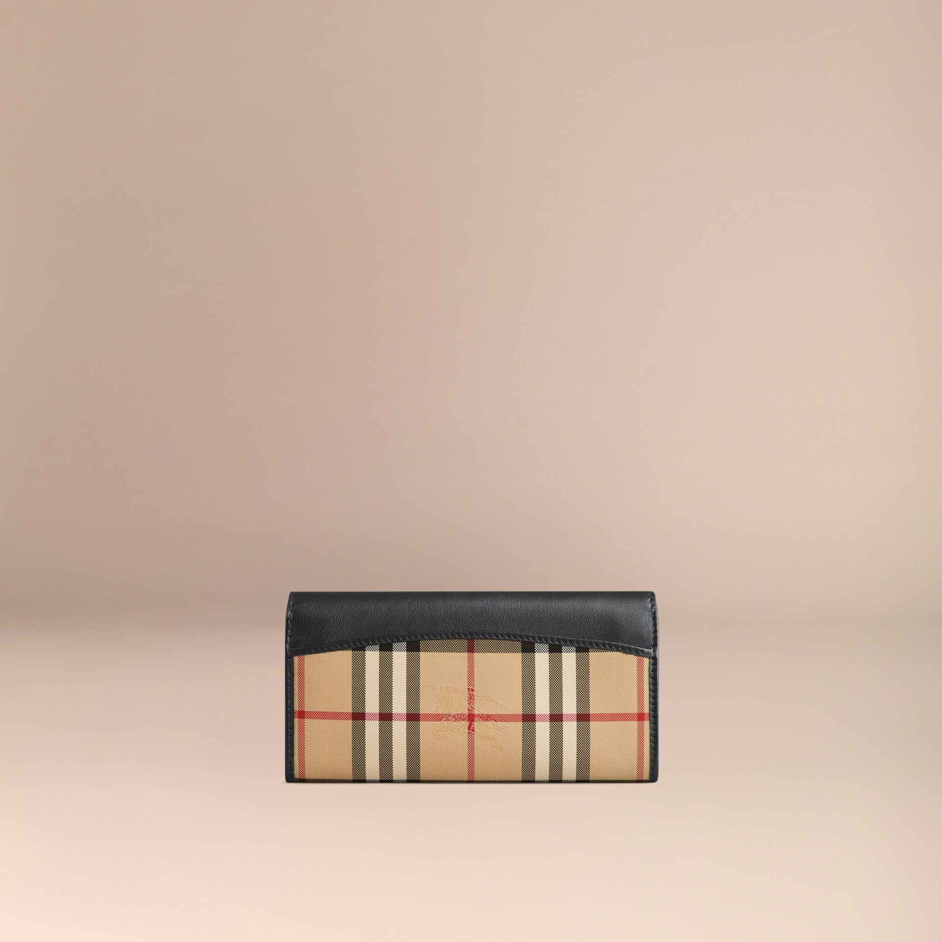 Horseferry Check and Leather Continental Wallet in Black - Women | Burberry - gallery image 3