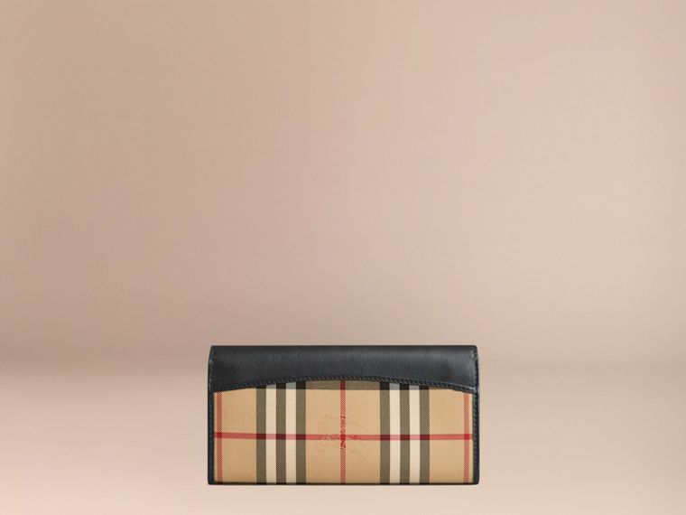 Horseferry Check and Leather Continental Wallet in Black - Women | Burberry - cell image 2