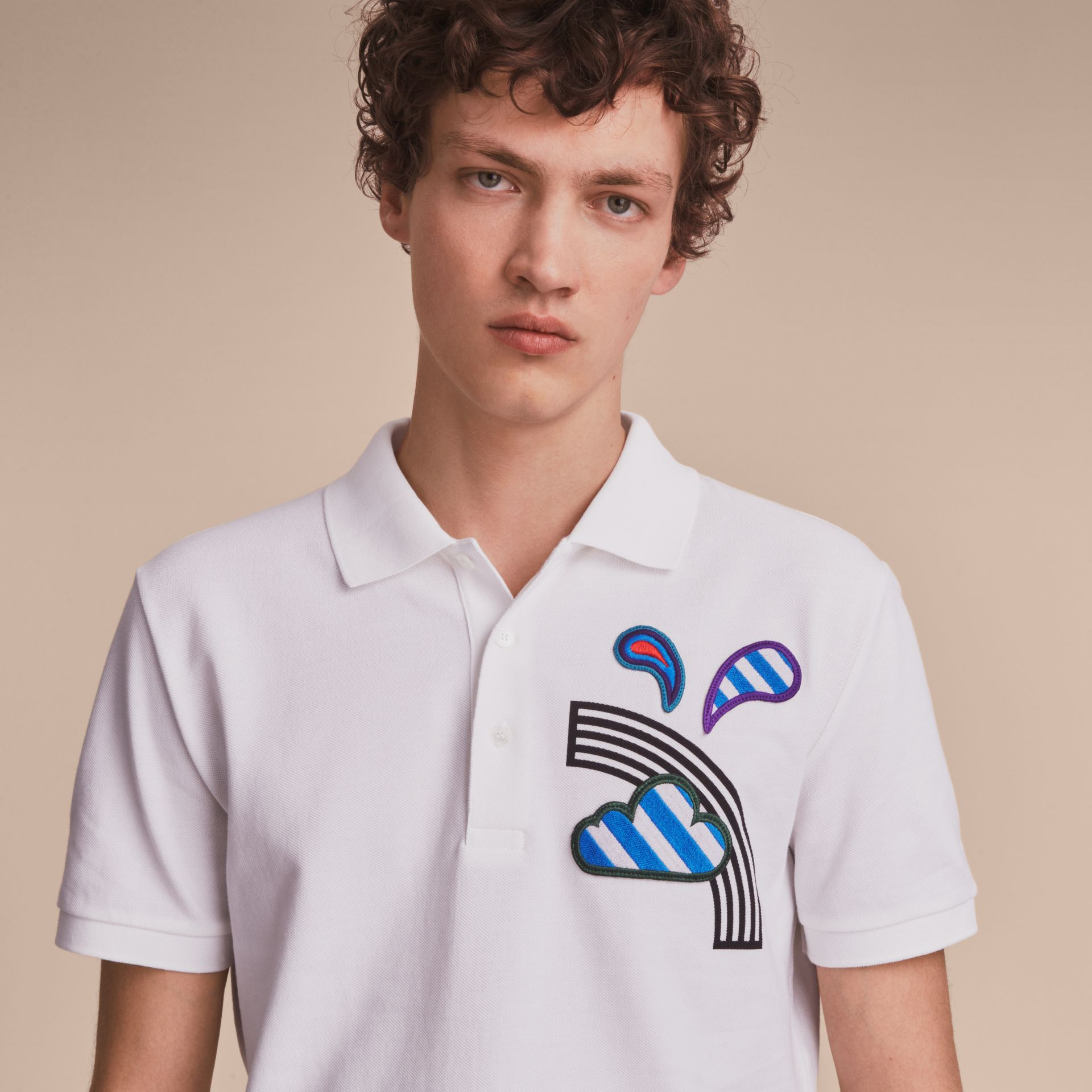 Weather Appliqué Cotton Piqué Polo Shirt White - gallery image 5