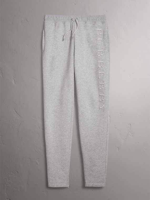Embroidered Jersey Sweatpants in Pale Grey Melange - Men | Burberry Hong Kong - cell image 3