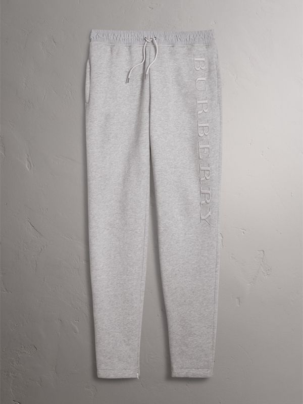 Embroidered Jersey Sweatpants in Pale Grey Melange - Men | Burberry Singapore - cell image 3
