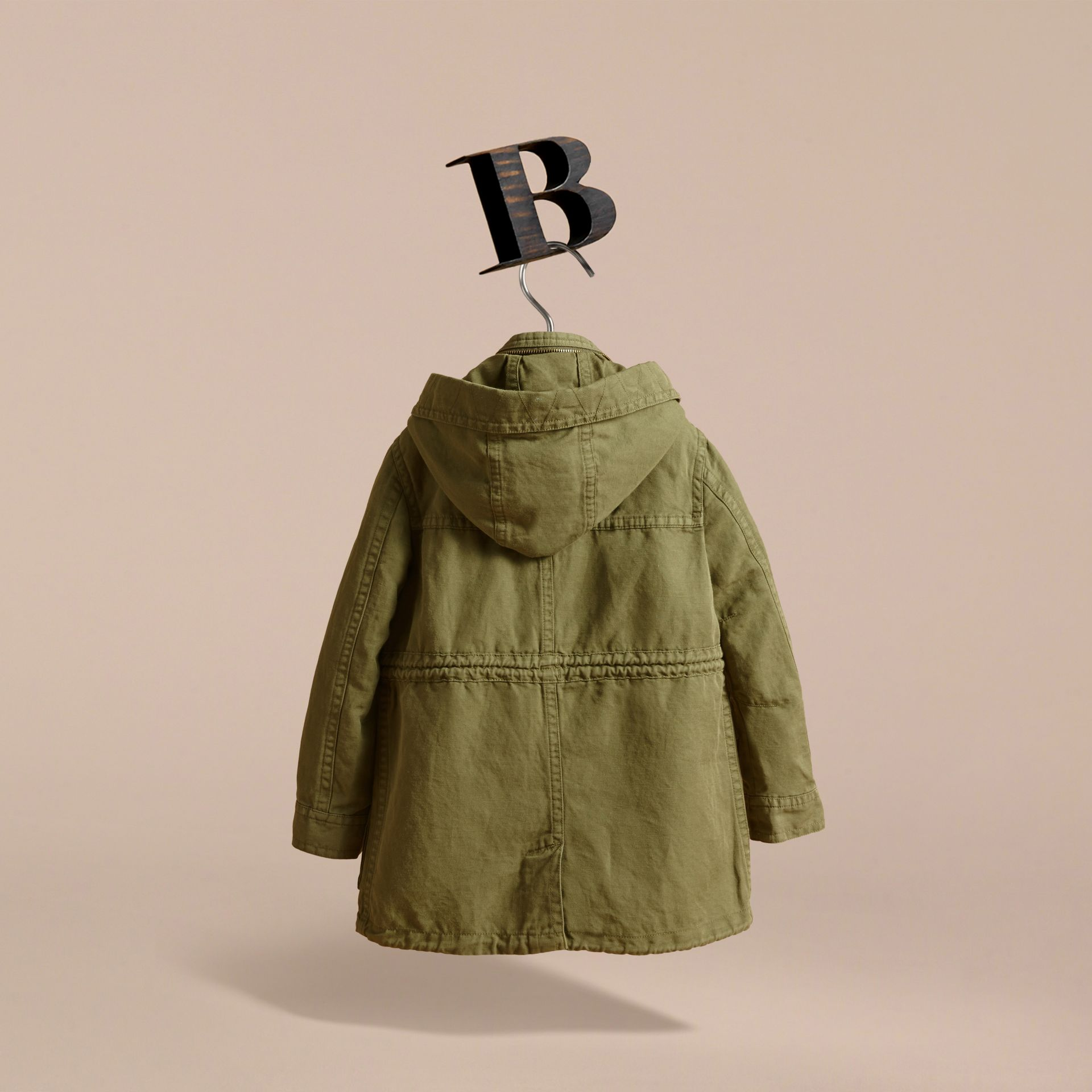 Hooded Cotton Linen Parka - gallery image 4