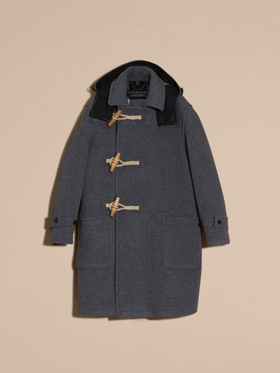 Mid grey Double Splittable Wool Blend Duffle Coat - cell image 3