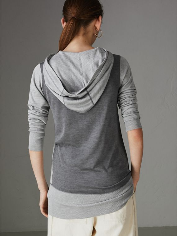 Embroidered Silk Cashmere Hoodie in Charcoal - Women | Burberry Australia - cell image 2