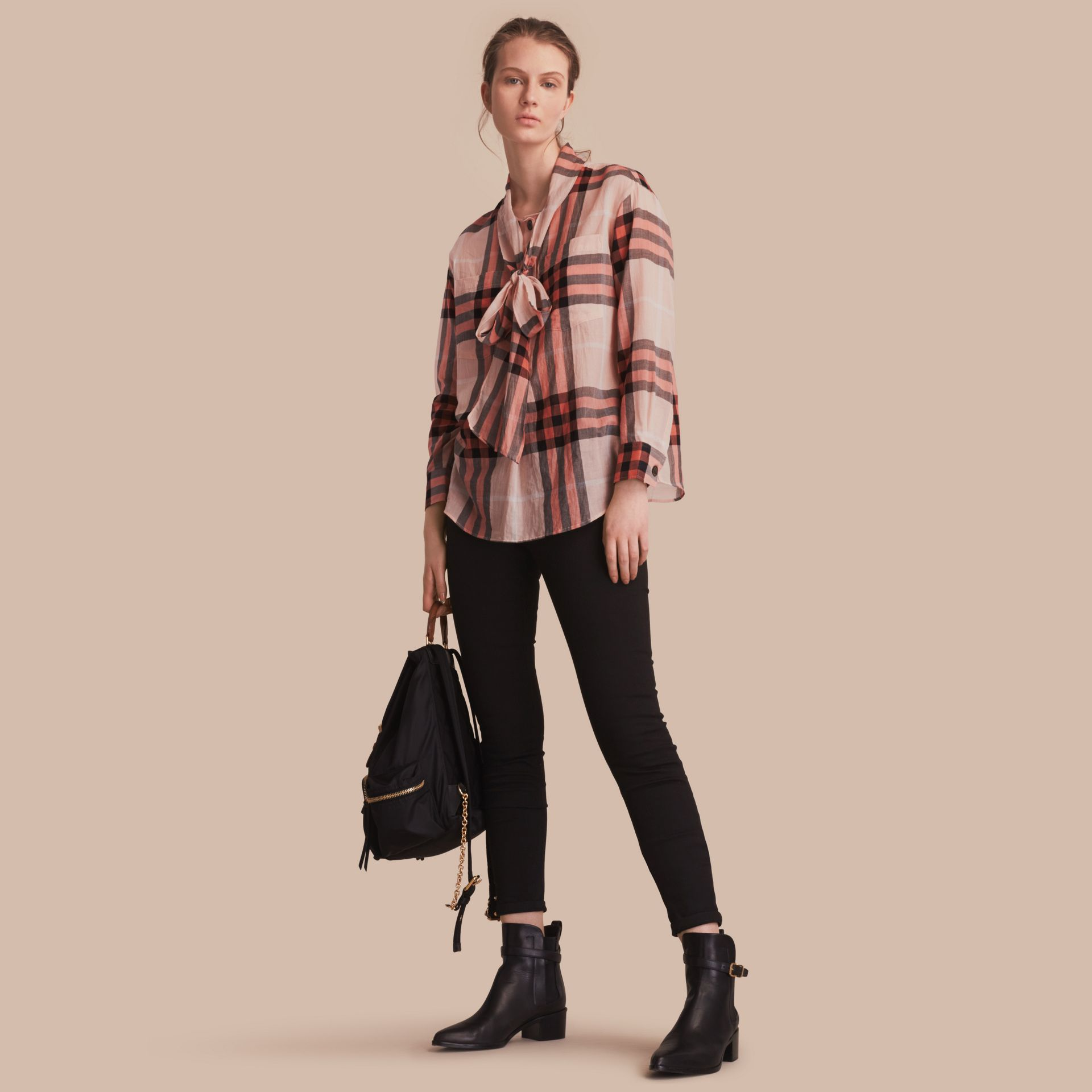 Check Tie Neck Cotton Shirt in Apricot - Women | Burberry Singapore - gallery image 1