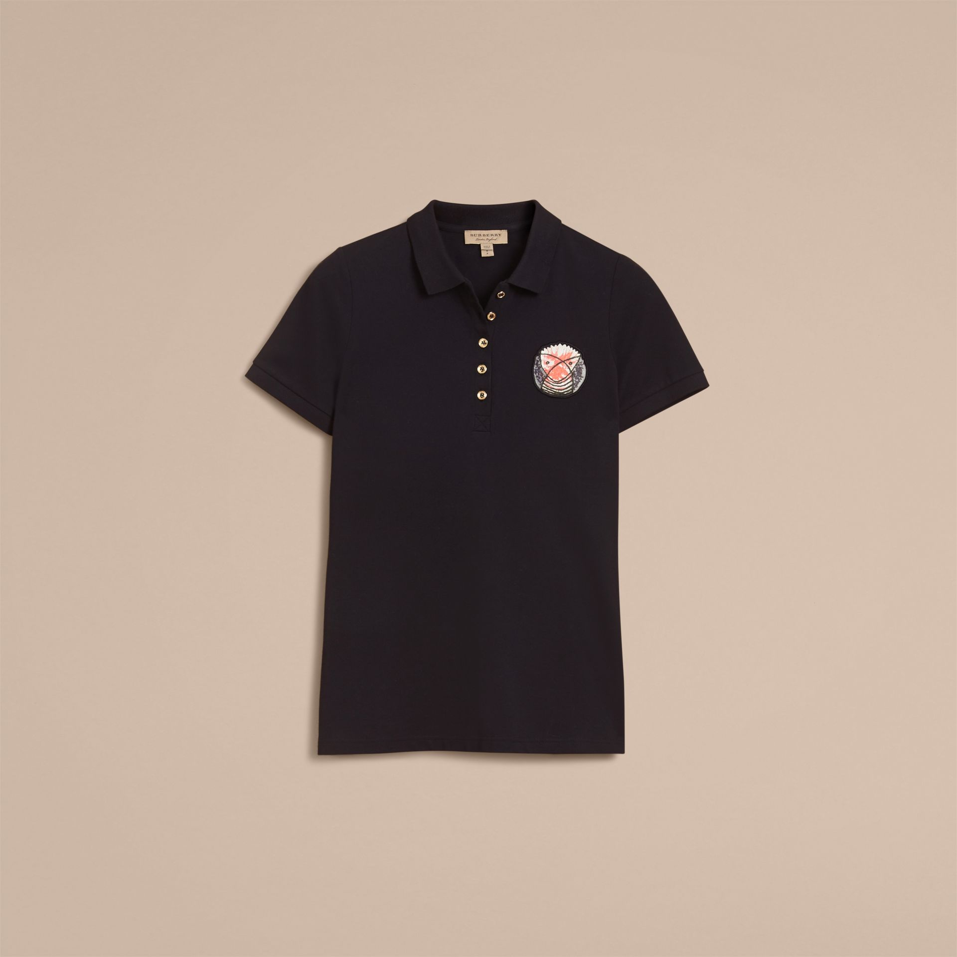 Pallas Heads Appliqué Cotton Piqué Polo Shirt Black - gallery image 4