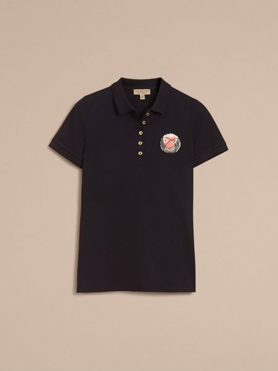 Pallas Heads Appliqué Cotton Piqué Polo Shirt Black - cell image 3