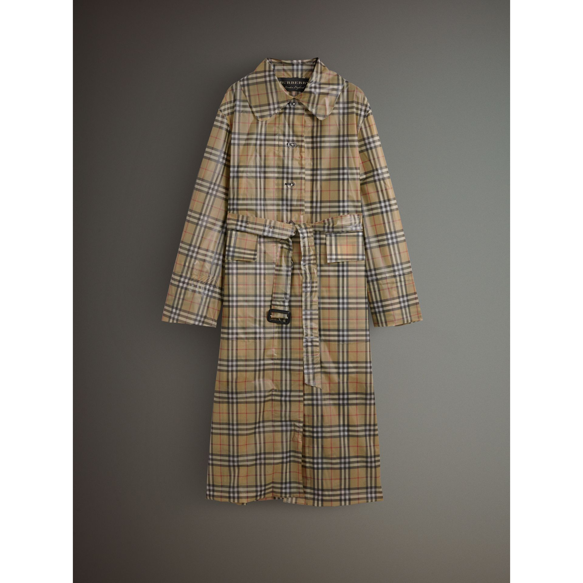 Vintage Check Soft-touch Plastic Single-breasted Coat in Antique Yellow - Women | Burberry Australia - gallery image 4