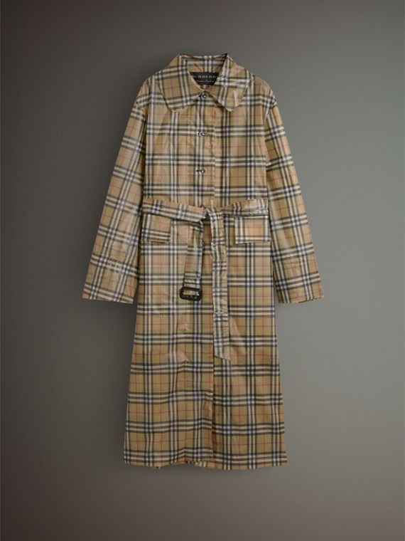 Vintage Check Soft-touch Plastic Single-breasted Coat in Antique Yellow - Women | Burberry - cell image 3
