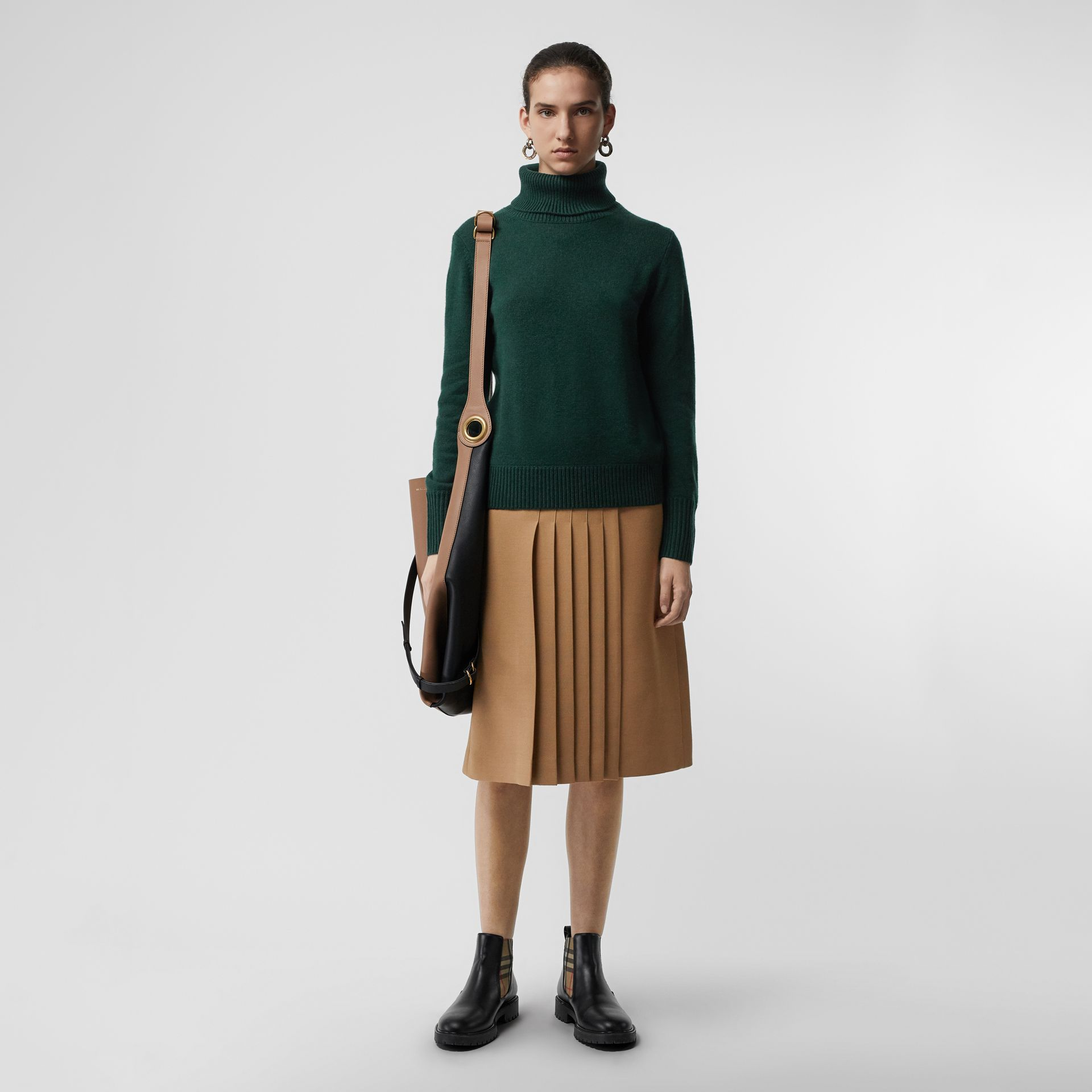 Embroidered Crest Cashmere Roll-neck Sweater in Dark Cedar Green - Women | Burberry - gallery image 0