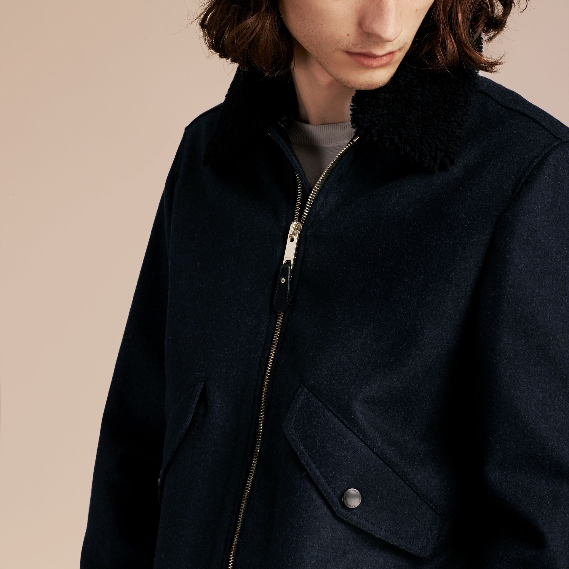 Navy melange Lightweight Wool Bomber Jacket with Detachable Shearling Top Collar - gallery image 6