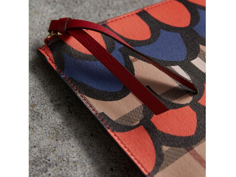 Scallop Print Haymarket Check and Leather Pouch in Poppy Red - Women | Burberry Canada - cell image 1