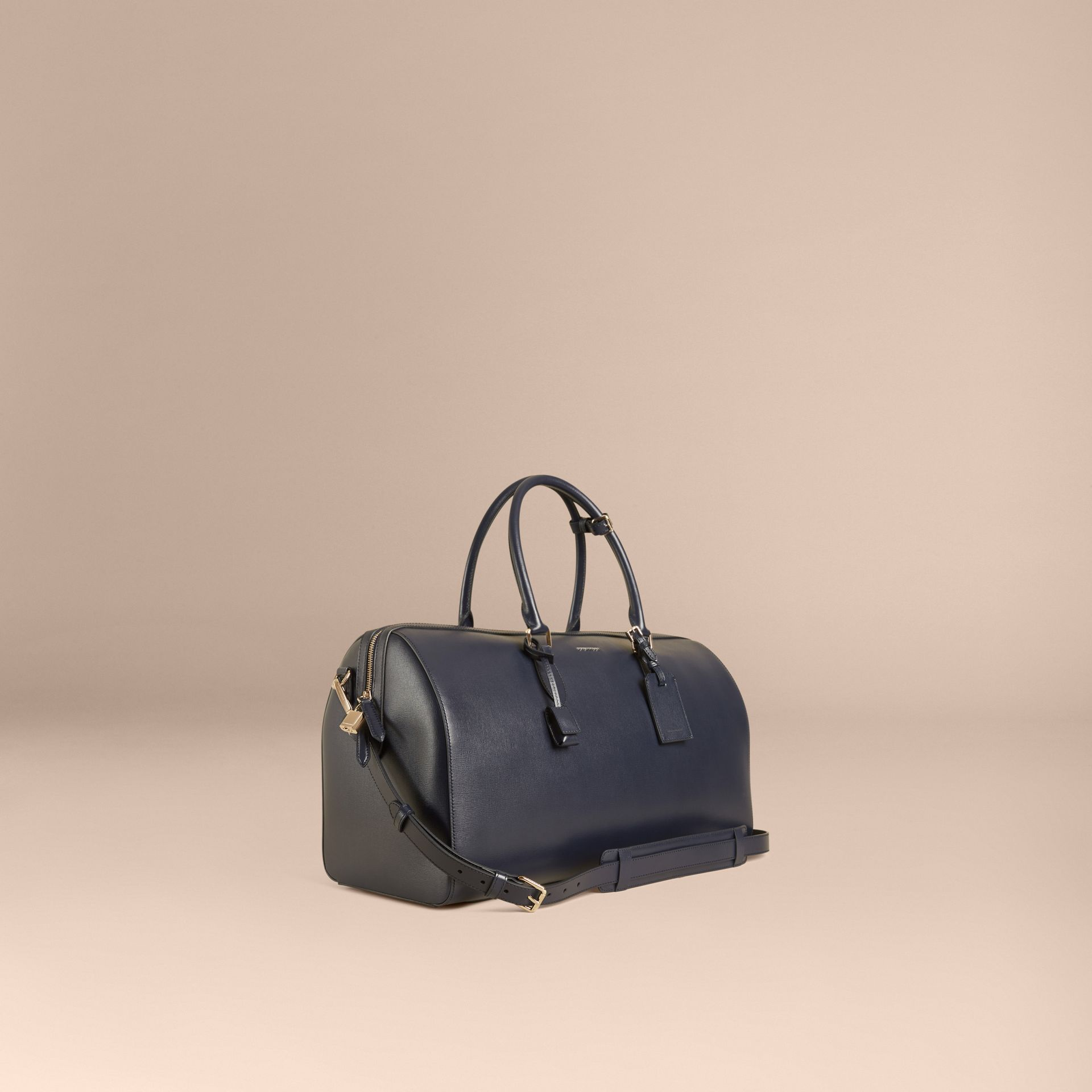 Dark navy London Leather Holdall Dark Navy - gallery image 1
