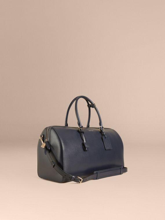London Leather Holdall in Dark Navy - Men | Burberry Canada