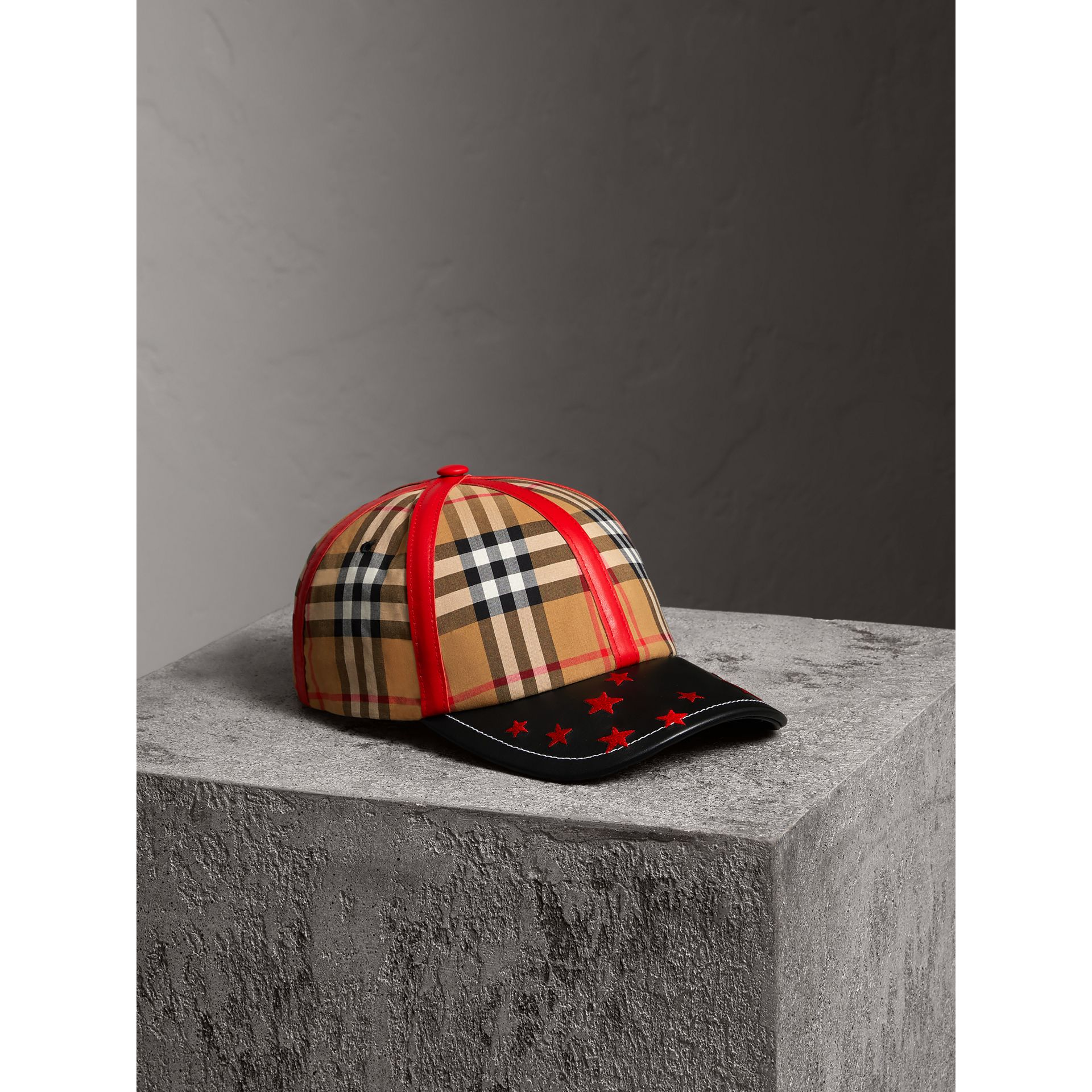 Burberry x Kris Wu Vintage Check and Leather Baseball Cap in Antique Yellow/black - Men | Burberry United Kingdom - gallery image 0