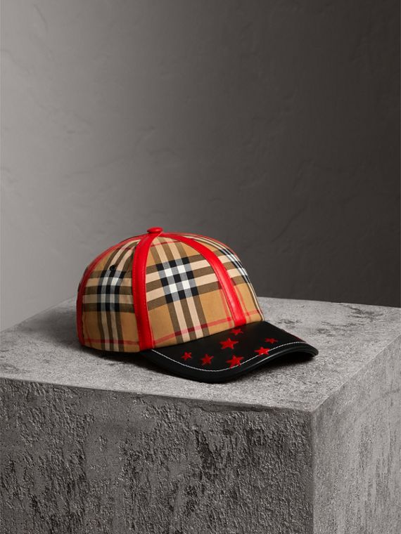 Burberry x Kris Wu Vintage Check and Leather Baseball Cap in Antique Yellow/black