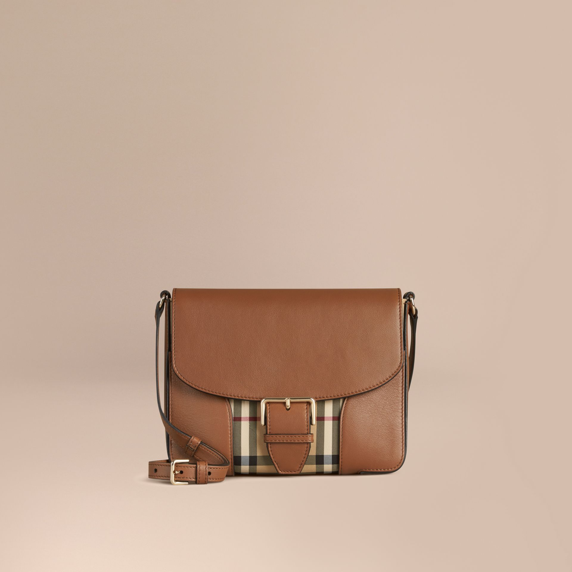 Honey/tan Small Horseferry Check and Leather Crossbody Bag Honey/tan - gallery image 1