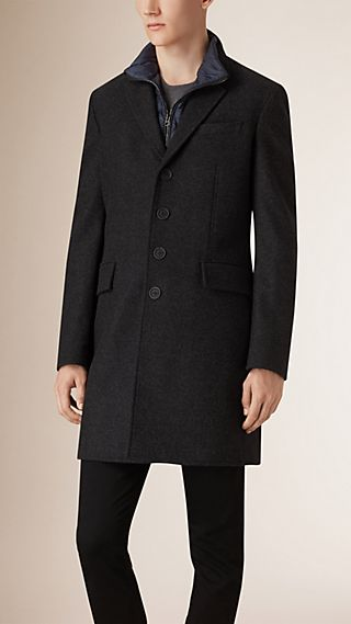 Wool Cashmere Melton Coat with Warmer