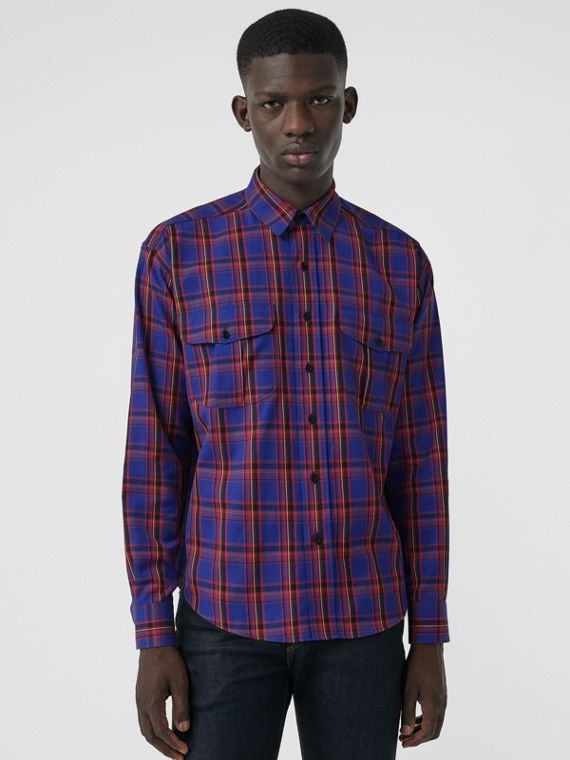 Check Cotton Twill Shirt in Bright Blue