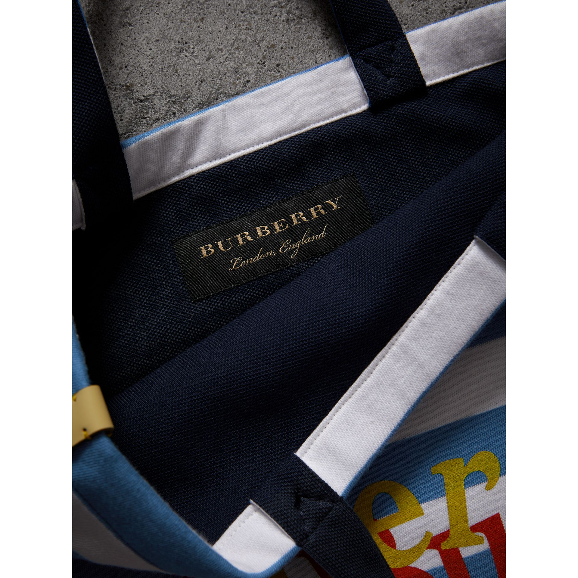 Medium Archive Logo Striped Jersey Shopper in Sky Blue/white | Burberry Australia - gallery image 3
