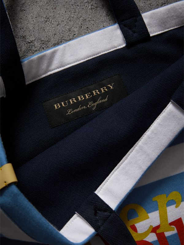 Medium Archive Logo Striped Jersey Shopper in Sky Blue/white | Burberry Australia - cell image 3