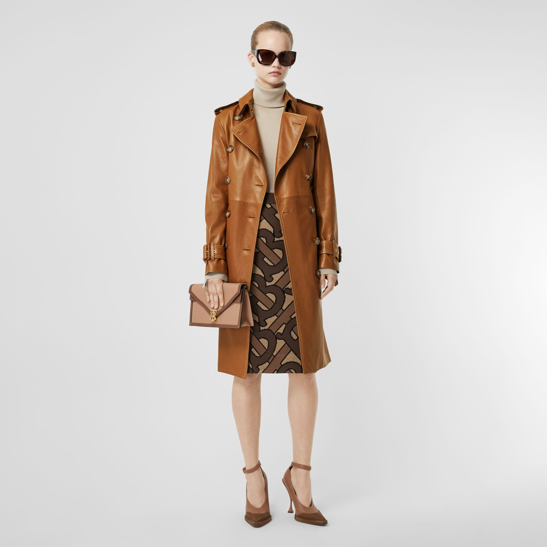 Topstitch Detail Lambskin Trench Coat in Maple - Women | Burberry - gallery image 0
