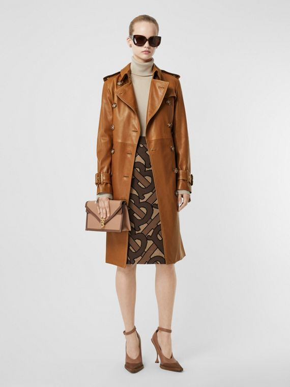 Topstitch Detail Lambskin Trench Coat in Maple