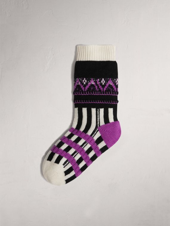 Fair Isle Wool Cashmere Patchwork Socks in Bright Lilac