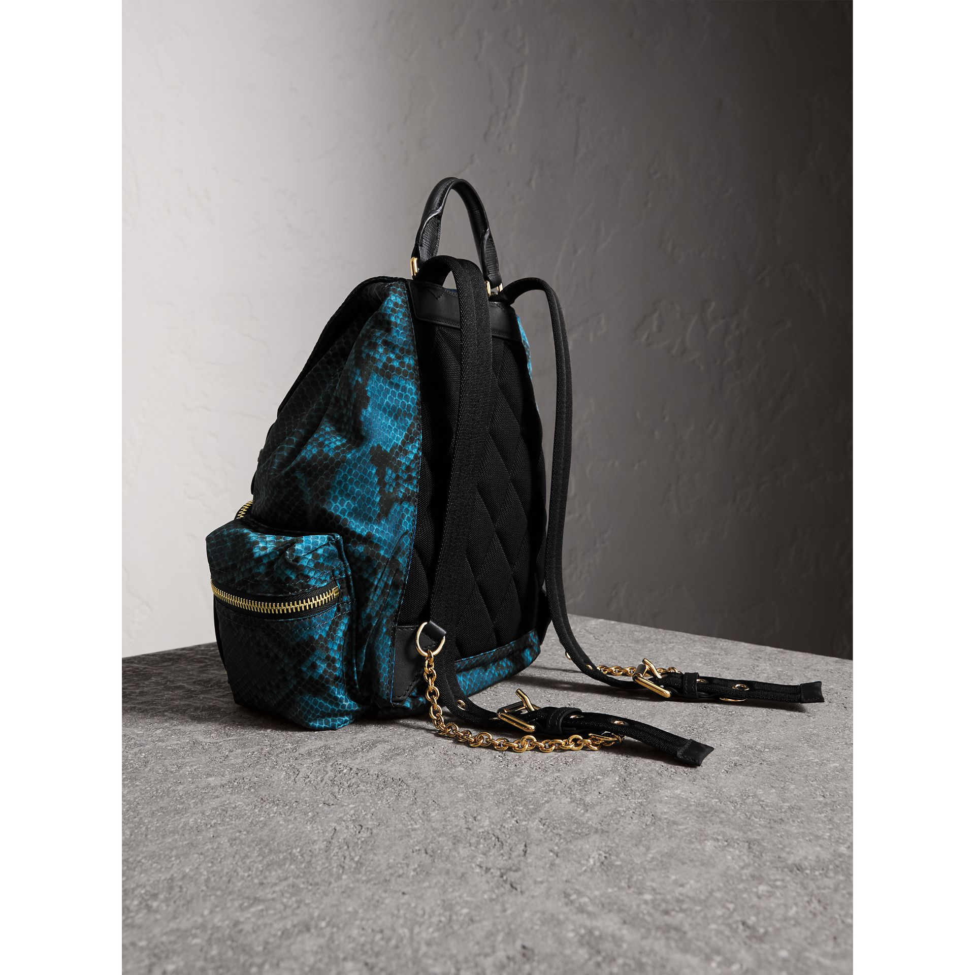 The Medium Rucksack in Python Print Nylon and Leather in Blue - gallery image 4