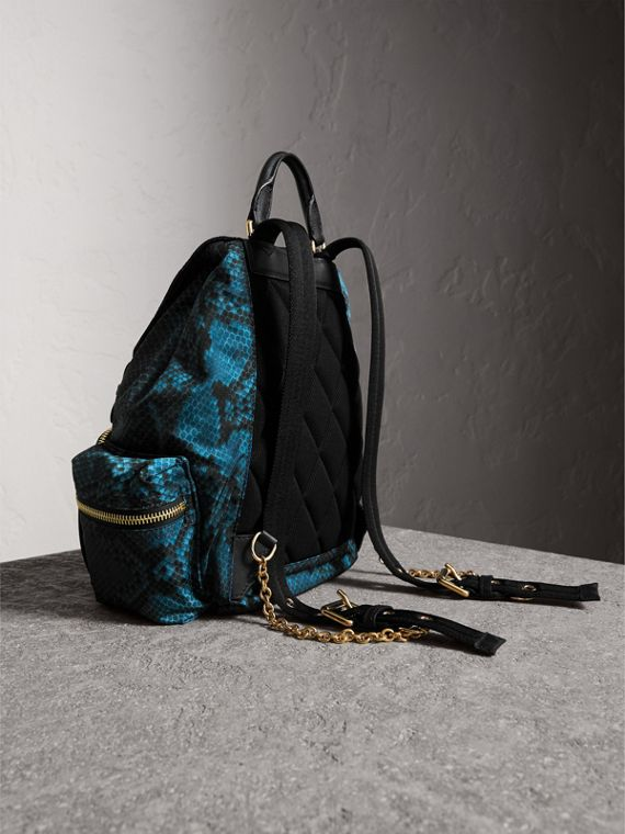 The Medium Rucksack in Python Print Nylon and Leather in Blue - cell image 3