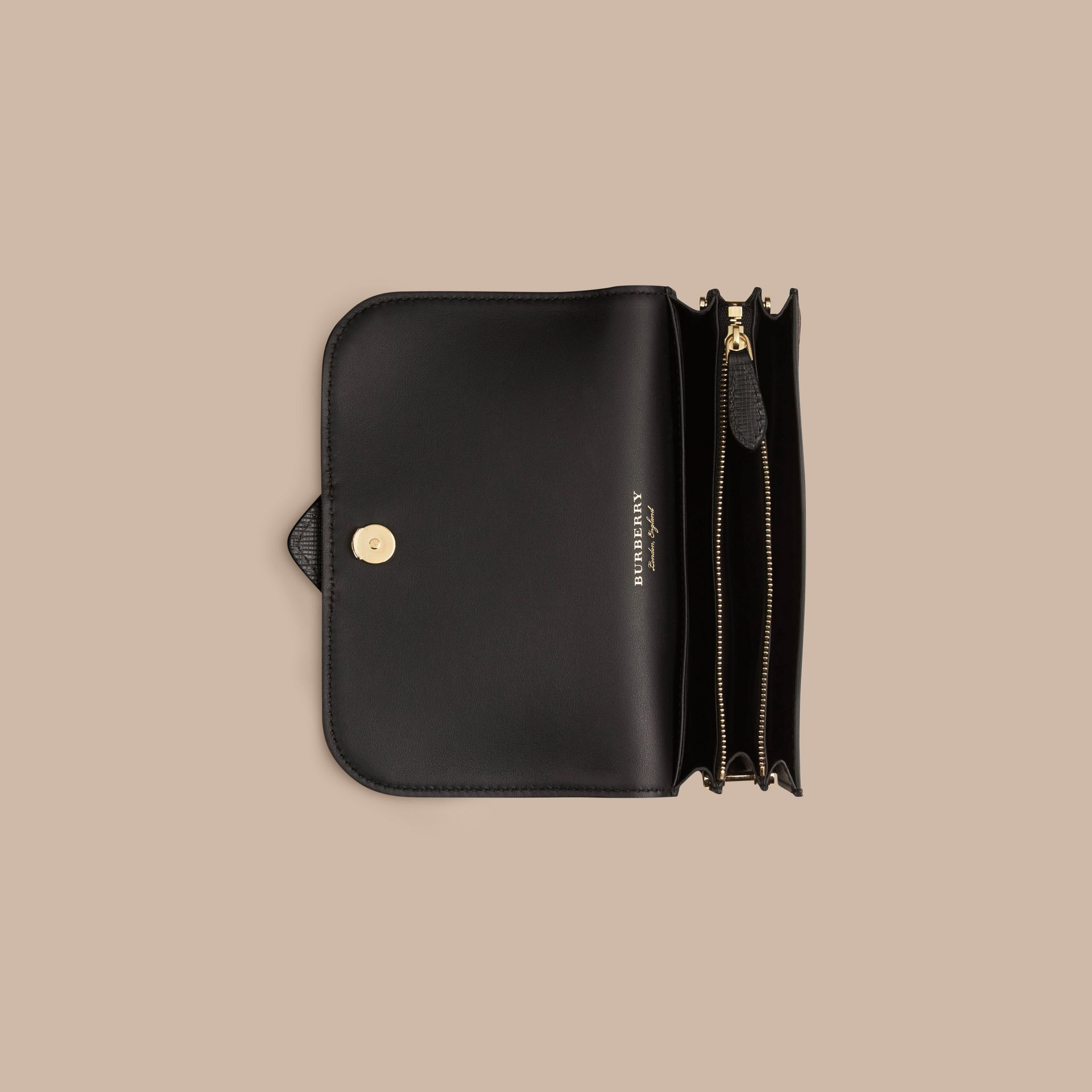 The Small Buckle Bag in House Check and Leather in Black - gallery image 7