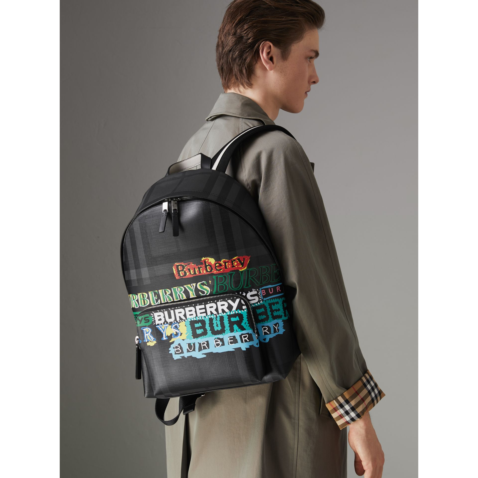 Logo Print London Check Backpack in Charcoal - Men | Burberry United Kingdom - gallery image 3