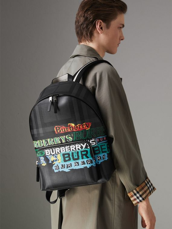 Logo Print London Check Backpack in Charcoal - Men | Burberry - cell image 3