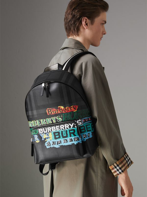 Logo Print London Check Backpack in Charcoal - Men | Burberry United Kingdom - cell image 3