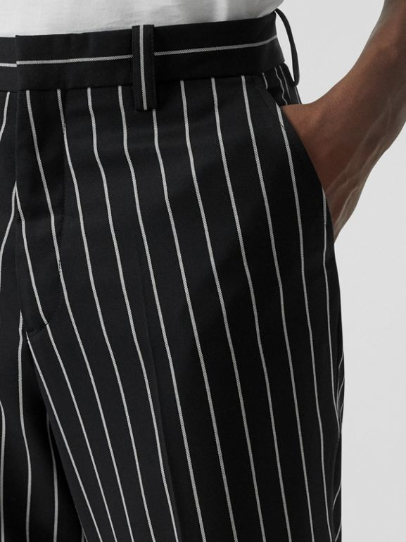 Pinstriped Stretch Wool Wide-leg Tailored Trousers in Black - Men | Burberry United Kingdom - cell image 1